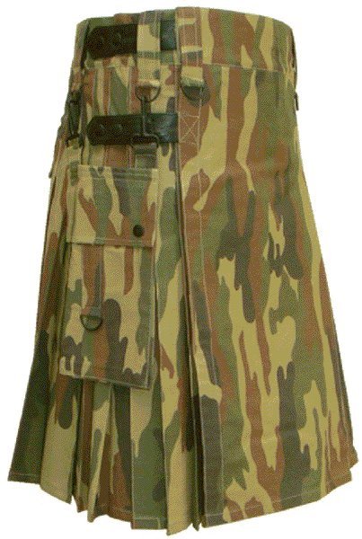 Utility Army Camo Cotton Kilt 50 Waist Size Fashion Kilt for Men with Leather Straps Cargo Pockets
