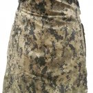 Mens Utility Digital Camo Cotton Kilt 42 Waist Size Fashion Kilt with Leather Straps Cargo Pockets