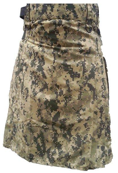 Mens Utility Digital Camo Cotton Kilt 56 Waist Size Fashion Kilt with Leather Straps Cargo Pockets