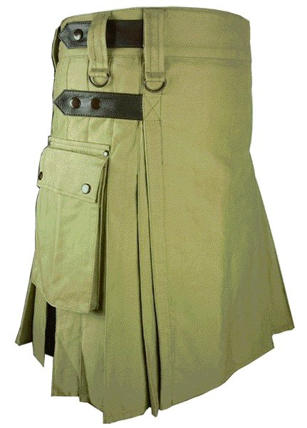 Utility Olive Green Cotton Kilt 46 Waist Size Fashion Kilt for Men with Leather Straps Cargo Pockets