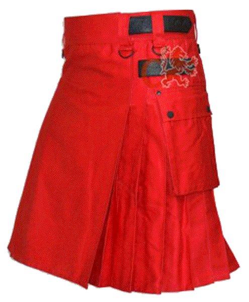 Utility Red Cotton Kilt 28 Waist Size Fashion Kilt for Men with Leather Straps Cargo Pockets