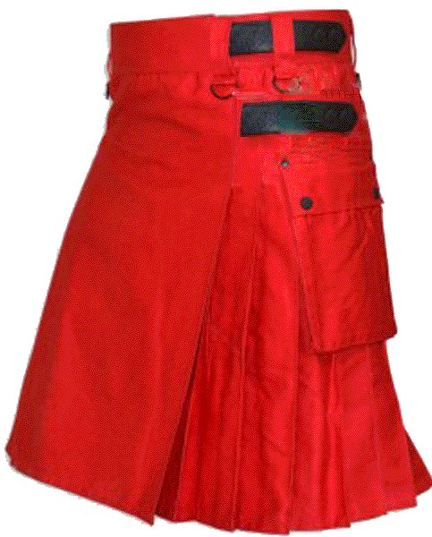Utility Red Cotton Kilt 50 Waist Size Fashion Kilt for Men with Leather Straps Cargo Pockets