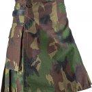 Utility Wood Land Cotton Kilt 58 Waist Size Fashion Kilt for Men with Leather Straps Cargo Pockets