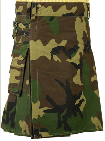 Army Camo Deluxe Cotton Kilt 52 Size Unisex Outdoor Utility Kilt Tactical Kilt with Cargo Pockets