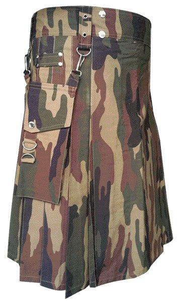Deluxe Heavy Duty Camouflage Kilt 60 Size Unisex Outdoor Utility Kilt Tactical Kilt