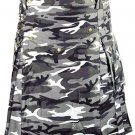 Urban white & Black Camo Cotton Kilt 36 Size Unisex Outdoor Utility Kilt with Cargo Pockets