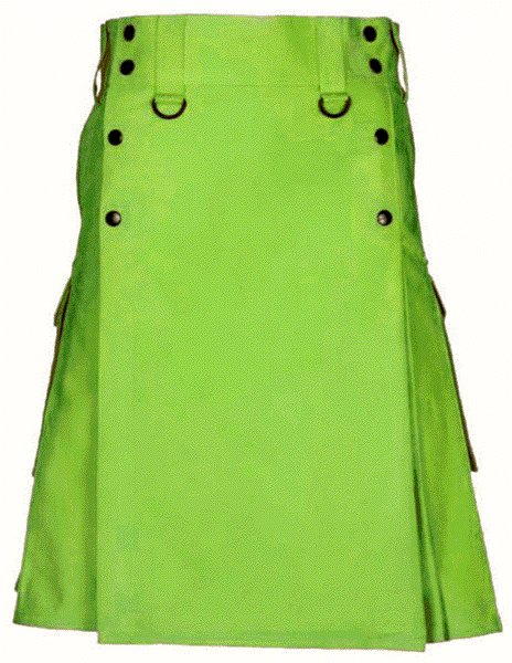 Tactical Parrot Green Deluxe Utility Cotton Kilt 54 Size Cargo Pocket Kilt Scottish Kilt