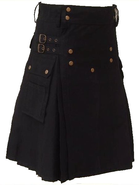 32 Size Black Scottish Utility cotton Kilt Working Kilt with Cargo Pockets and Front Brass Buttons