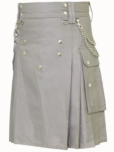 Classic Gray Utility Kilt 32 Size Modern Kilt Fashion Kilt for Men Tactical grey Deluxe Cotton Kilt