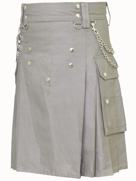 Classic Gray Utility Kilt 48 Size Modern Kilt Fashion Kilt for Men Tactical grey Deluxe Cotton Kilt