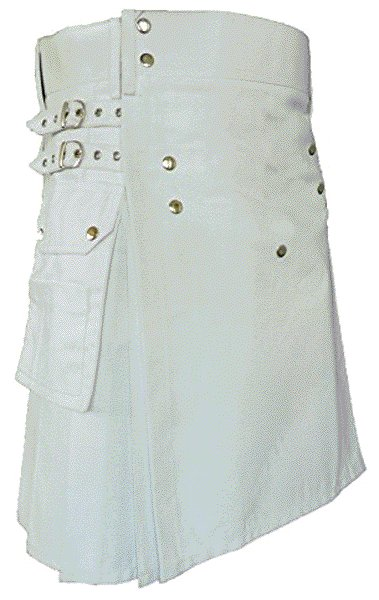 Scouts Working Utility White Cotton Kilt For Scottish Men 52 Size Classic Causal Utility Kilt