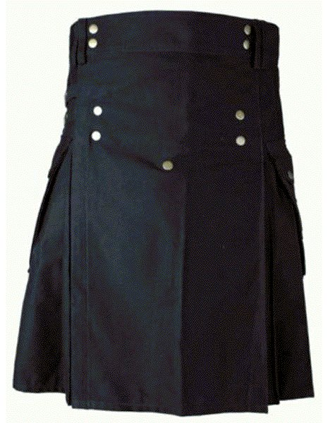 Mens BLACK Scottish Working Utility Kilt 32 Size Black Cotton Canvas Cargo Pockets Sport