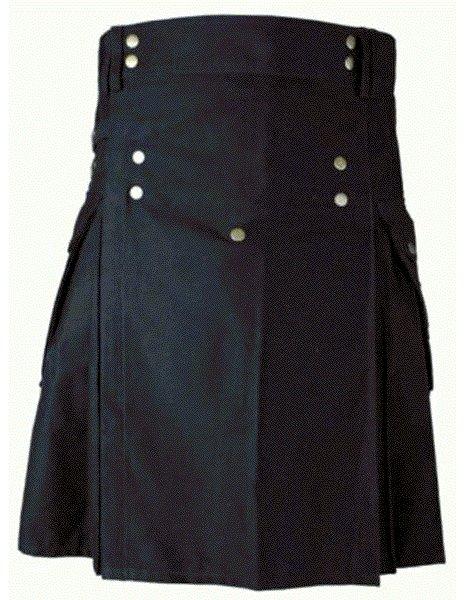 Mens BLACK Scottish Working Utility Kilt 48 Size Black Cotton Canvas Cargo Pockets Sport