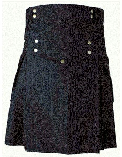 Mens BLACK Scottish Working Utility Kilt 56 Size Black Cotton Canvas Cargo Pockets Sport