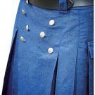 New Handmade Mens Utility Royal Blue Cotton Kilt 26 Size Working Blue Kilt Outdoor Utility Kilt