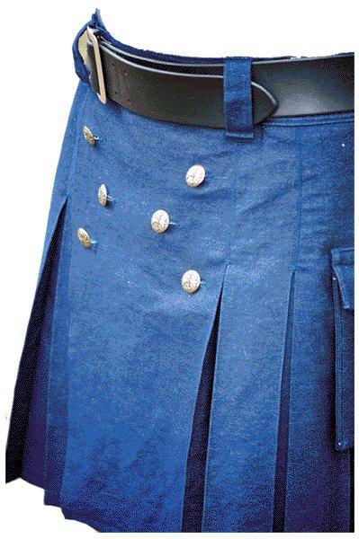New Handmade Mens Utility Royal Blue Cotton Kilt 28 Size Working Blue Kilt Outdoor Utility Kilt