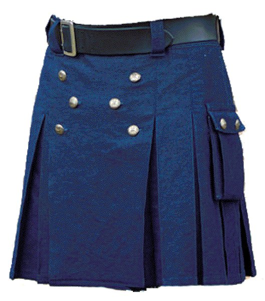 New Handmade Mens Utility Royal Blue Cotton Kilt 30 Size Working Blue Kilt Outdoor Utility Kilt