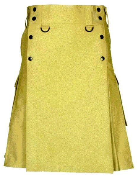 Khaki Slash Pocket Kilt for Elegant Men 52 Size New Style of Utility Cotton Kilt