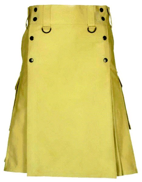 Khaki Slash Pocket Kilt for Elegant Men 54 Size New Style of Utility Cotton Kilt