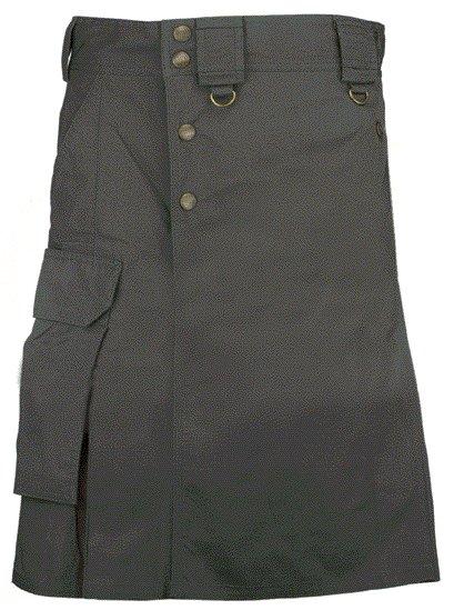 Black Cargo Pocket Kilt for Elegant Men 34 Size Utility Black Cotton Kilt