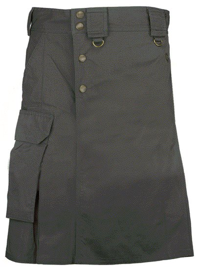 Black Cargo Pocket Kilt for Elegant Men 38 Size Utility Black Cotton Kilt