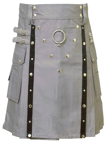 New Stylish Utility Gray Cotton Kilt 44 Size V Shape Chrome Buttons on Front Apron Modern Kilt
