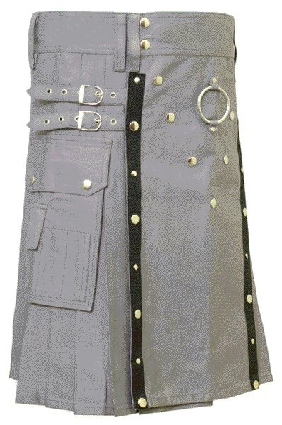 New Stylish Utility Gray Cotton Kilt 50 Size V Shape Chrome Buttons on Front Apron Modern Kilt