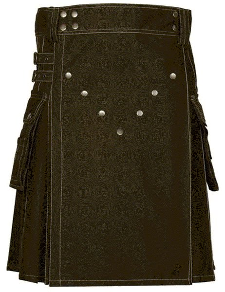 New Style Utility Brown Cotton Kilt 52 Size V Shape Chrome Buttons on Front Apron Modern Brown Kilt