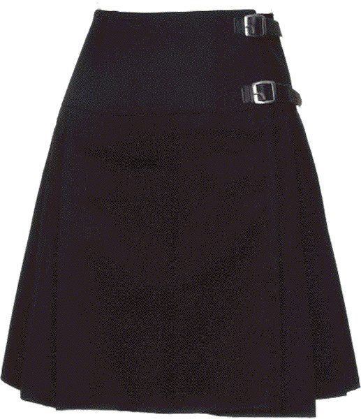 Ladies Knee Length Kilted Skirt, 28 Waist Size Plain Black Ladies Kilted Skirt