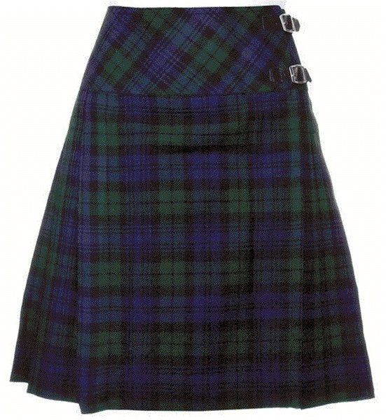 Ladies Knee Length Billie Kilt Mod Skirt, 64 Waist Size Black Watch Kilt Skirt Tartan Pleated