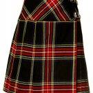 Ladies Knee Length Billie Kilt Mod Skirt, 56 Waist Size Black Stewart Kilt Skirt Tartan Pleated
