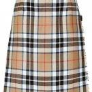 Ladies Full Length Kilted Skirt, 40 Waist Size Camel Thompson Tartan Pleated Kilt-Skirt