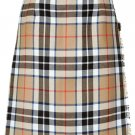 Ladies Full Length Kilted Skirt, 56 Waist Size Camel Thompson Tartan Pleated Kilt-Skirt