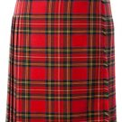 Ladies Full Length Kilted Skirt, 32 Waist Size Royal Stewart Tartan Pleated Kilt-Skirt
