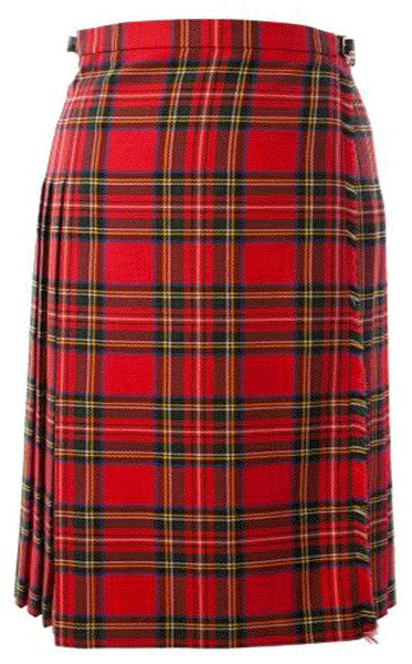 Ladies Full Length Kilted Skirt, 38 Waist Size Royal Stewart Tartan Pleated Kilt-Skirt