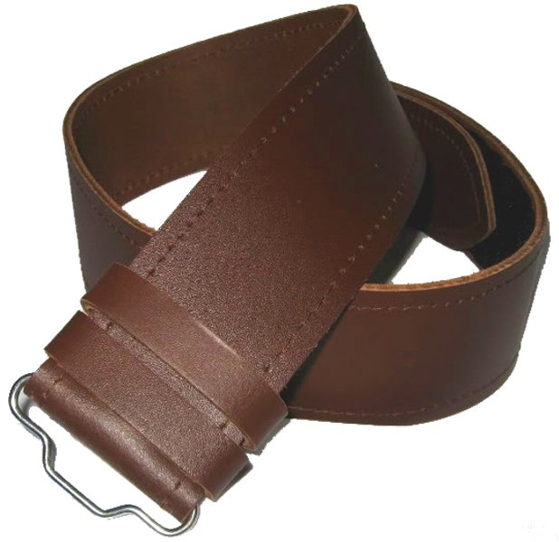 Scottish Highland Thick Brown Genuine Leather Kilt Belt without Buckle 44 Size