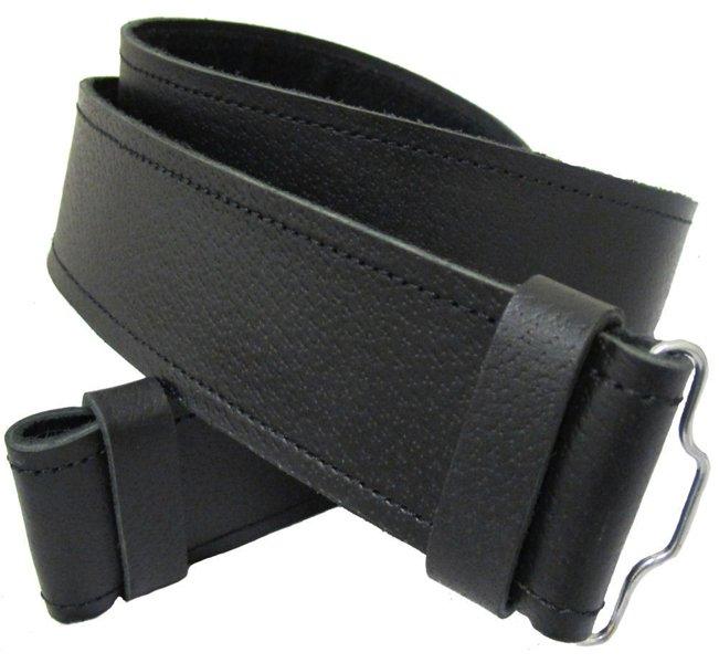 Scottish Highland Thick Black Genuine Leather Kilt Belt without Buckle 44 Size