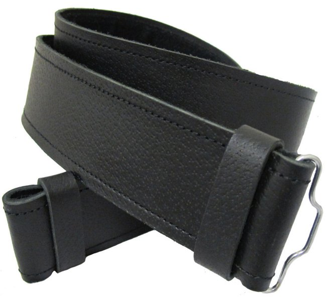Scottish Highland Thick Black Genuine Leather Kilt Belt without Buckle 42 Size