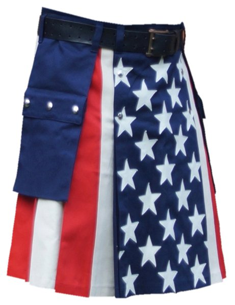 USA Stars and Stripes Kilt 30 Size US Flag Hybrid Utility Kilt with Cargo Pockets Tactical Kilt
