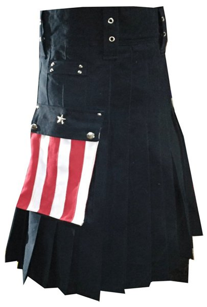 USA Stars Pocket Utility Kilt 42 Size Hybrid Duty Kilt with Cargo Pockets Black Cotton Duty Kilt