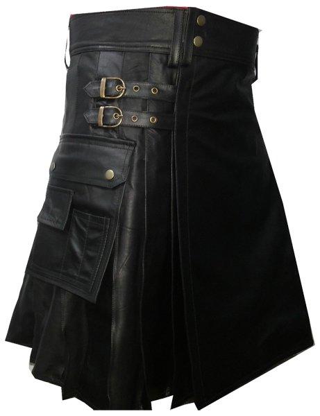 Utility Kilt in Genuine Cowhide Black Leather 30 Size Sports Kilt Pleated Black Leather Kilt for Men