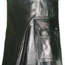 32 Size Deluxe Handmade Pure Leather Black Kilt Genuine Cowhide Skin Skirt Kilt for Men