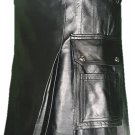 44 Size Deluxe Handmade Pure Leather Black Kilt Genuine Cowhide Skin Skirt Kilt for Men