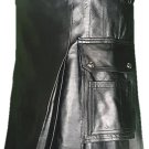 48 Size Deluxe Handmade Pure Leather Black Kilt Genuine Cowhide Skin Skirt Kilt for Men