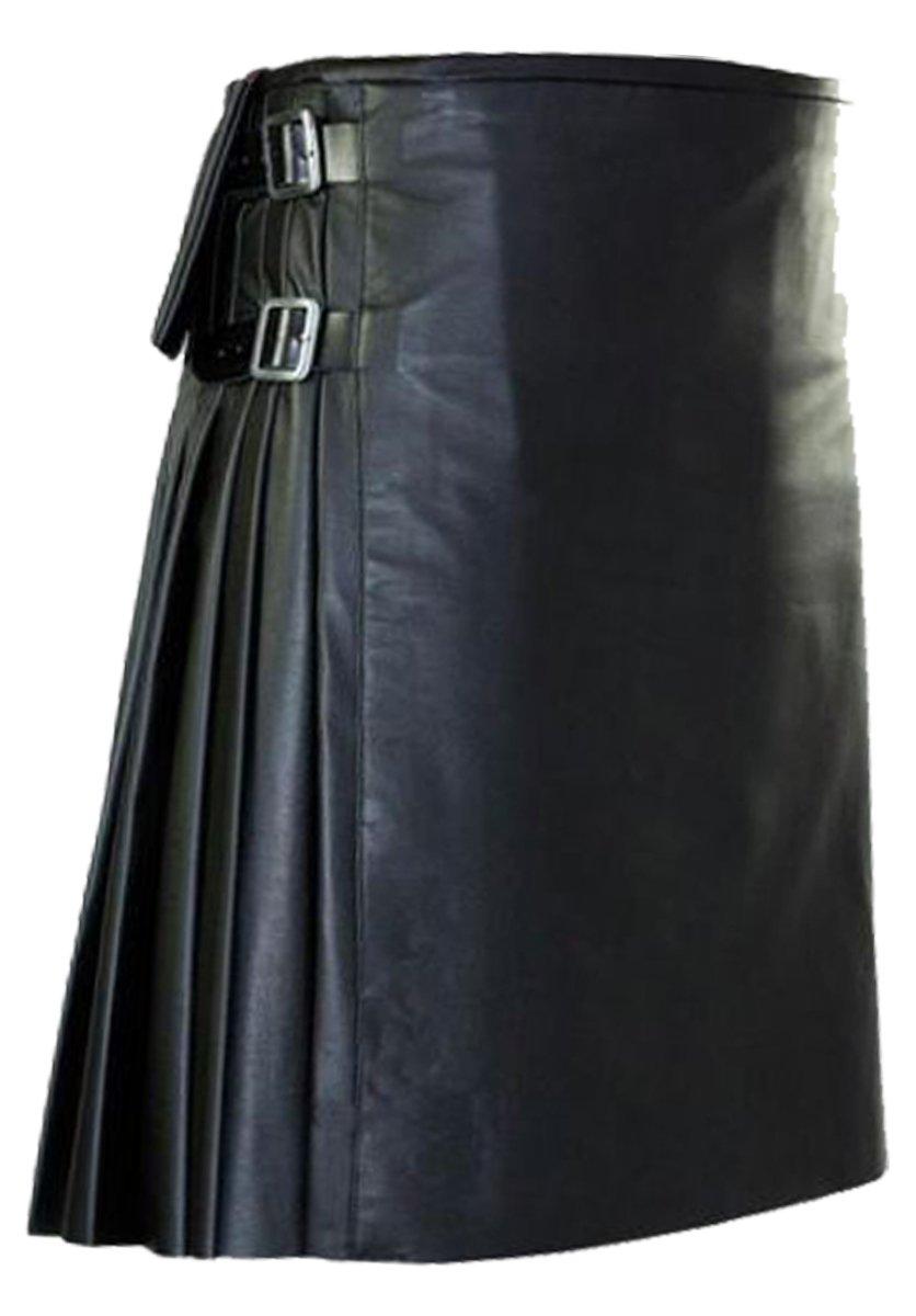 Unisex Custom Made Leather Kilt 56 Size Utility Leather Skirt Genuine Cowhide Leather Kilt