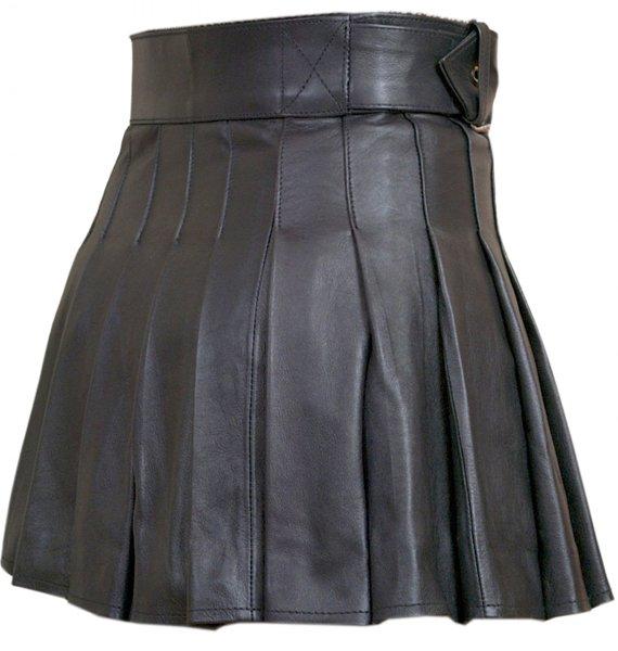 Real Black Leather Wrap-around Leather Mini Skirt Kilt Size 32 Ladies Mini Stylish Skirt