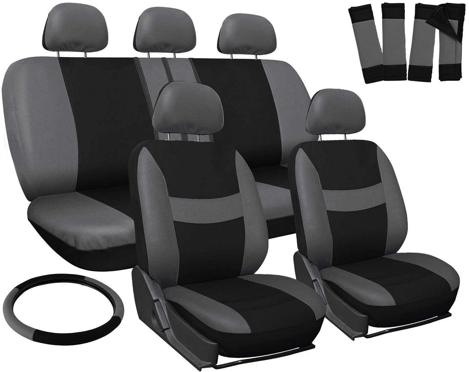 New Car Seat Covers for Ford Focus Gray Black w/ Steering Wheel-Belt Pads-Head Rests