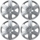 "New 4pc Set of 15"" Inch Silver Hub Caps Full Lug Skin Rim Cover for OEM Steel Wheel"