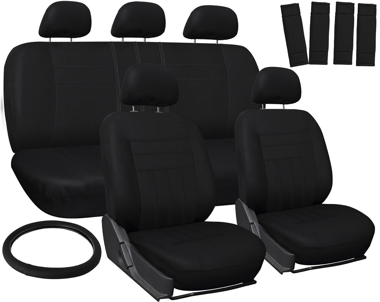 New Toyota Corolla Car Seat Covers Solid Black Steering Wheel/Belt Pad/Head Rest
