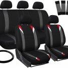 New Toyota Corolla Red Gray Black Car Seat Cover w/Steering Wheel/Belt/Head Rest